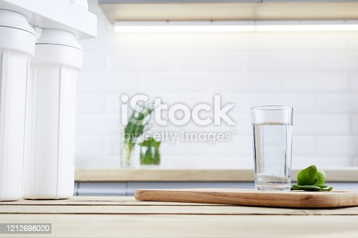 A glass of clean water with osmosis filter and green leaves on wooden table in kitchen interior. Concept Household filtration system.