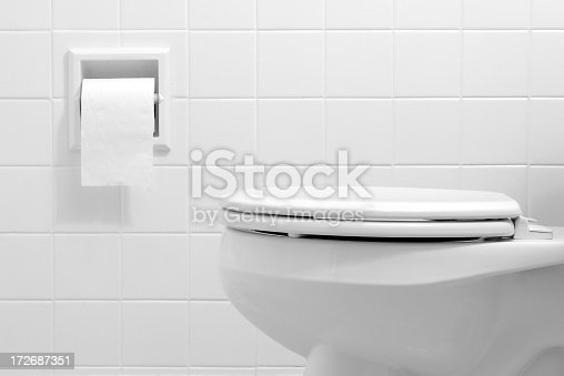 Black and White photo of a toilet and toilet paper dispenser.