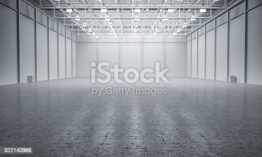 istock Clean White empty warehouse 522140966