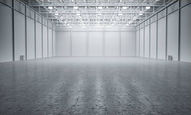 Clean White empty warehouse stock photo