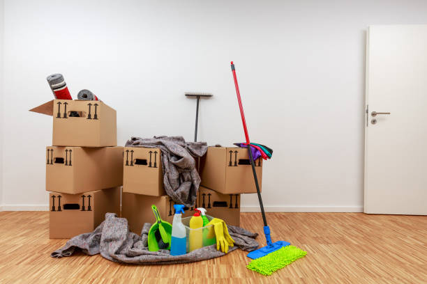 Clean, white room with cartons and cleaning tools stock photo