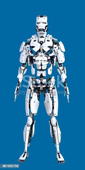 Clean White Standing Cyborg Robot on blue chroma key background.
