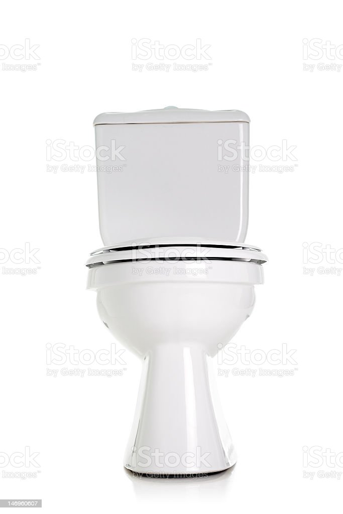 Clean white toilet on a white background stock photo