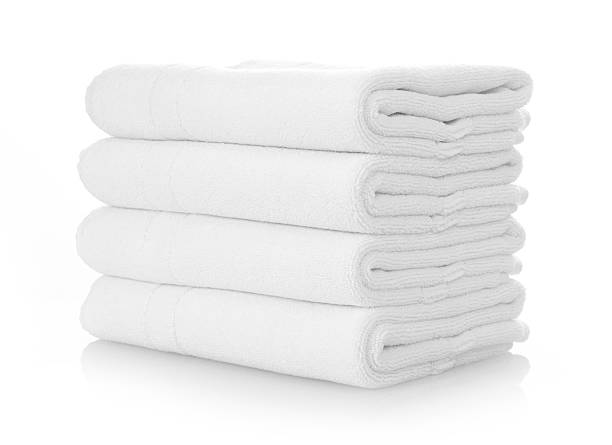 clean white towels - folded stock photos and pictures
