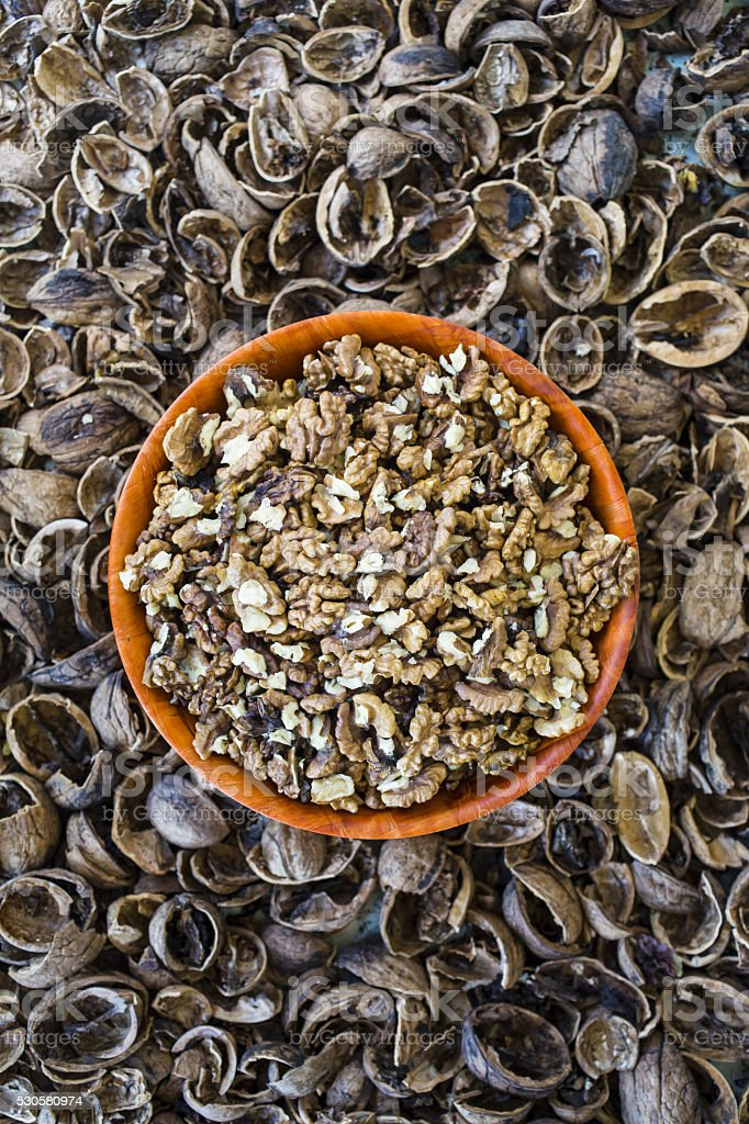 cleaned walnuts stock photo