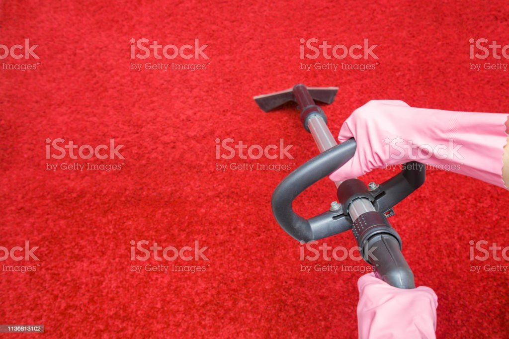 Cleaner Hands In Rubber Protective Gloves Cleaning Red