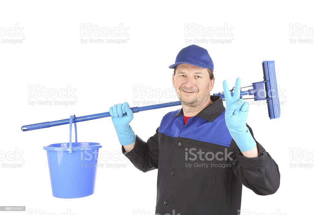 Cleaner with mop and bucket. royalty-free stock photo