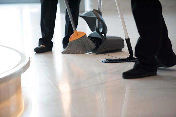 cleaners are mopping the office - sweeping stock pictures, royalty-free photos & images