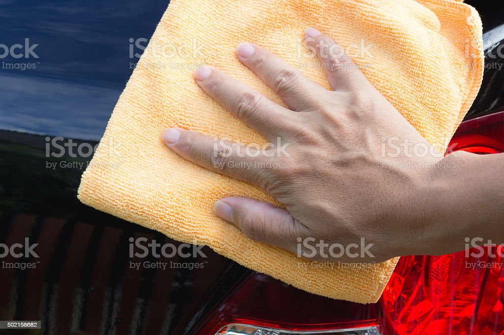 cleaning a car stock photo