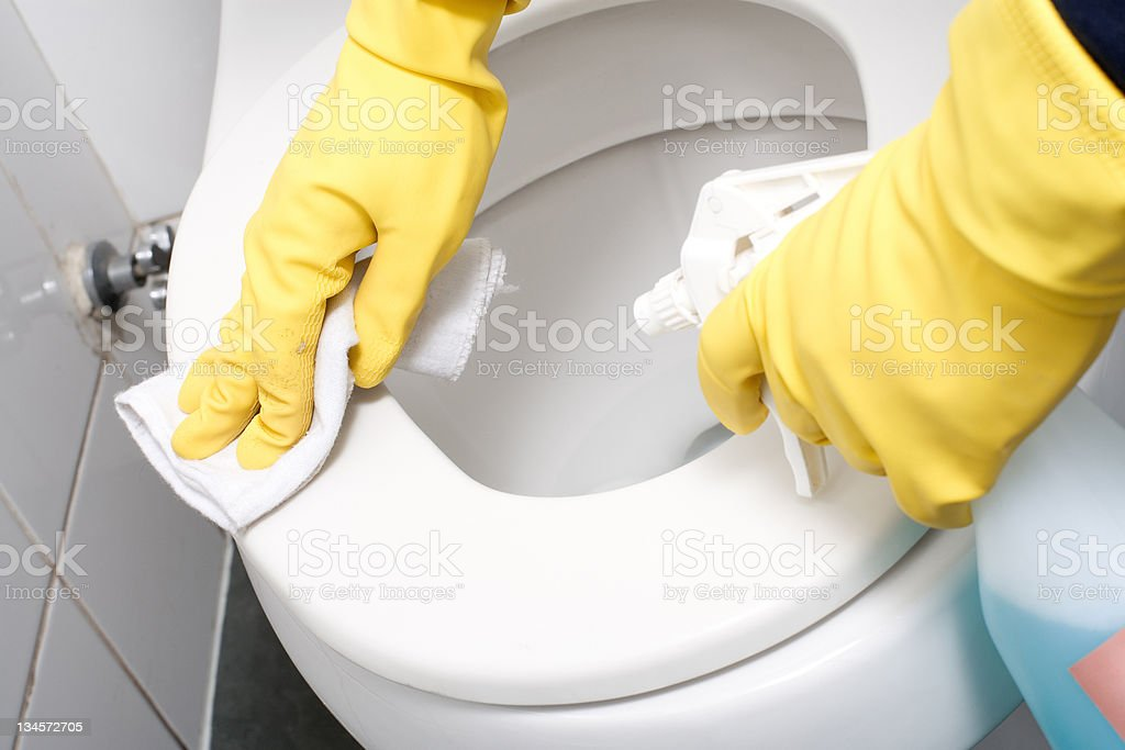cleaning a WC stock photo