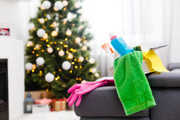 cleaning after Christmas party stock photo