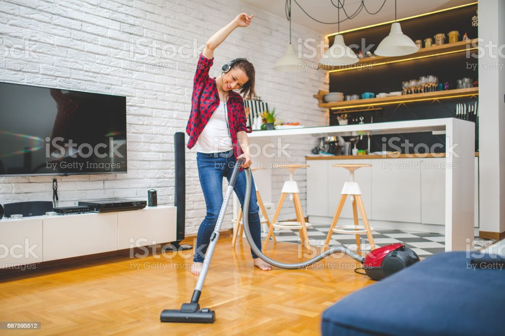 Cleaning and dancing stock photo