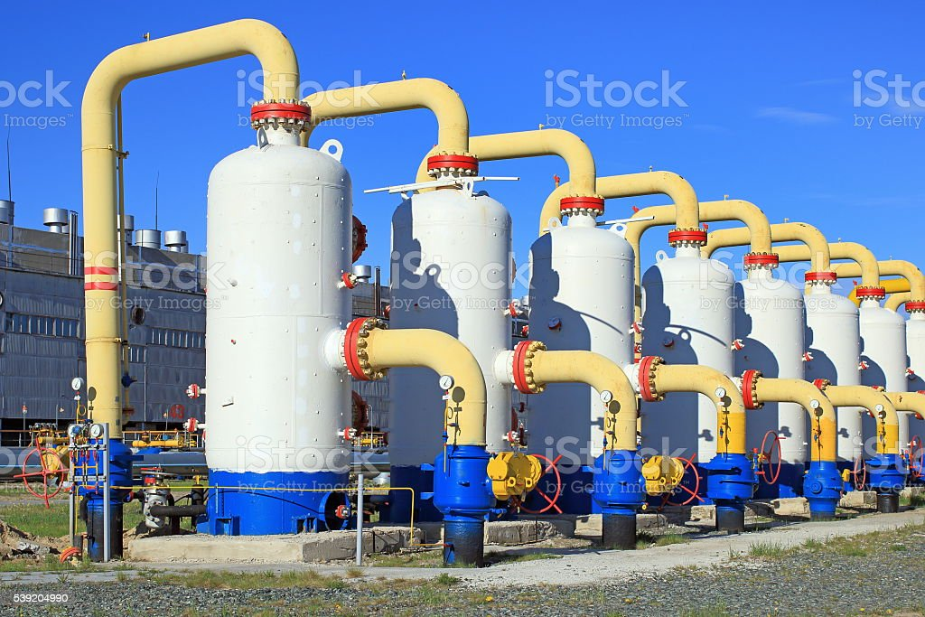 Cleaning and transportation of gas stock photo