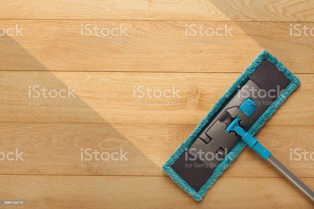 Reinigung Hintergrund, mop, Holzboden, waschen, vor und nach der Wirkung – Foto
