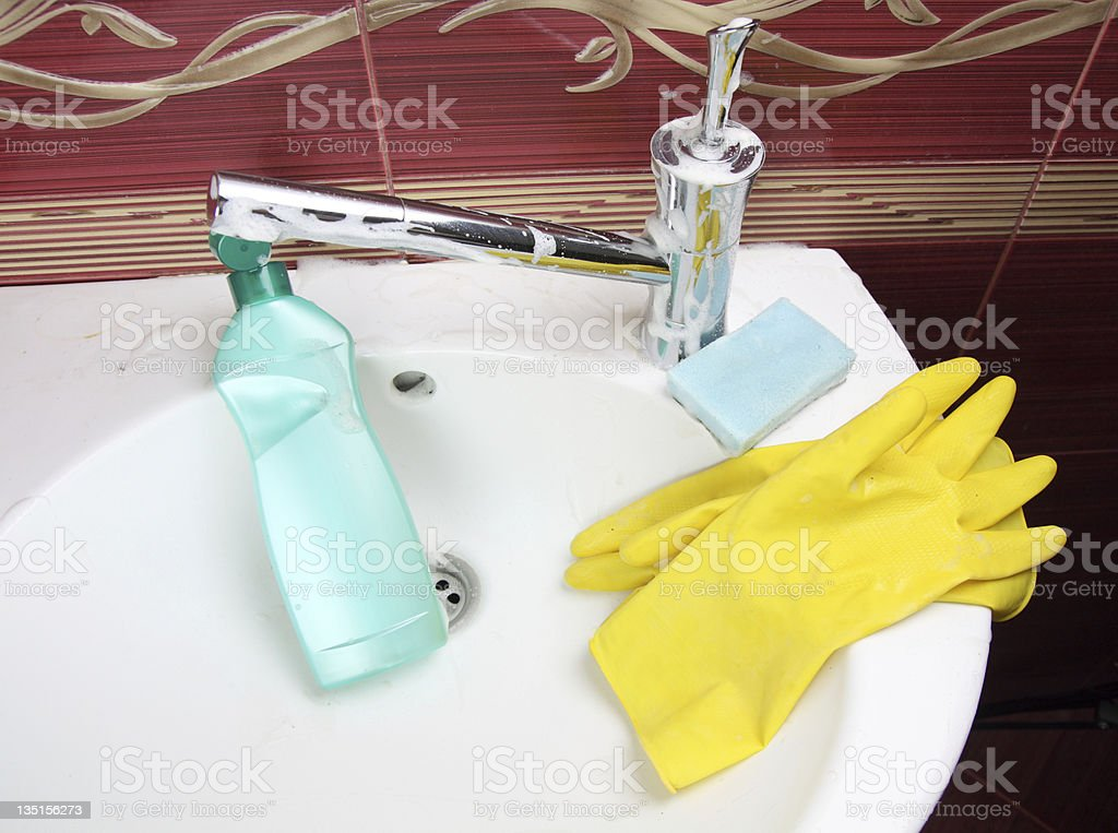 cleaning bathroom royalty-free stock photo