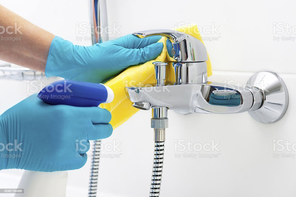 cleaning bathroom stock photo
