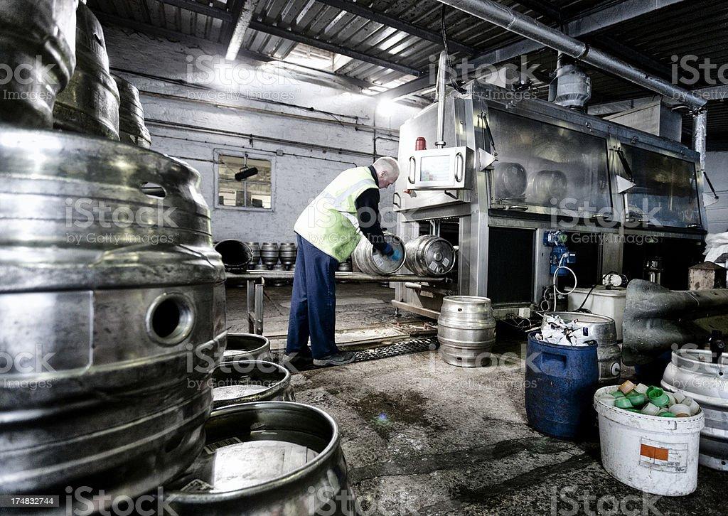 Cleaning beer kegs stock photo