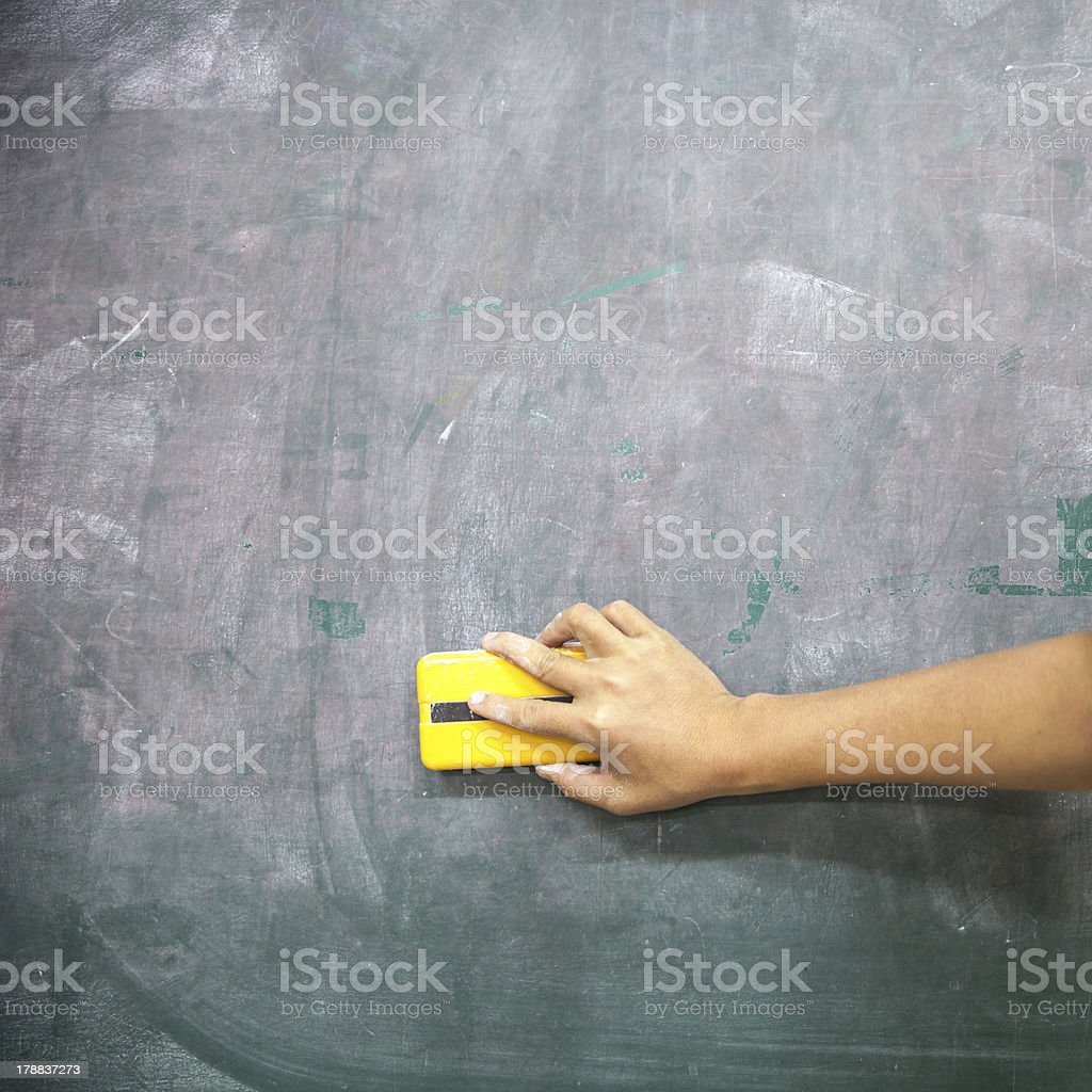 cleaning blackboard stock photo