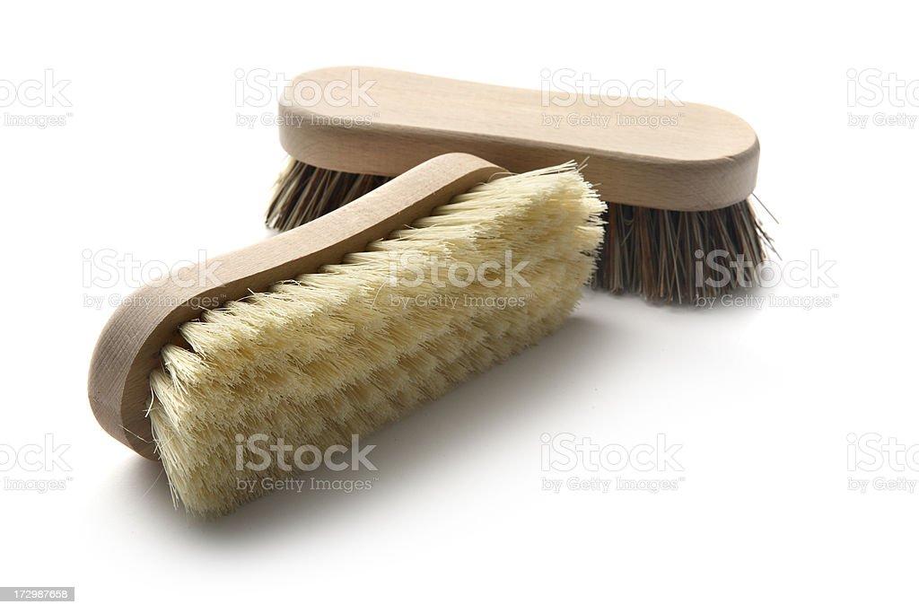 Cleaning: Brushes Isolated on White Background stock photo