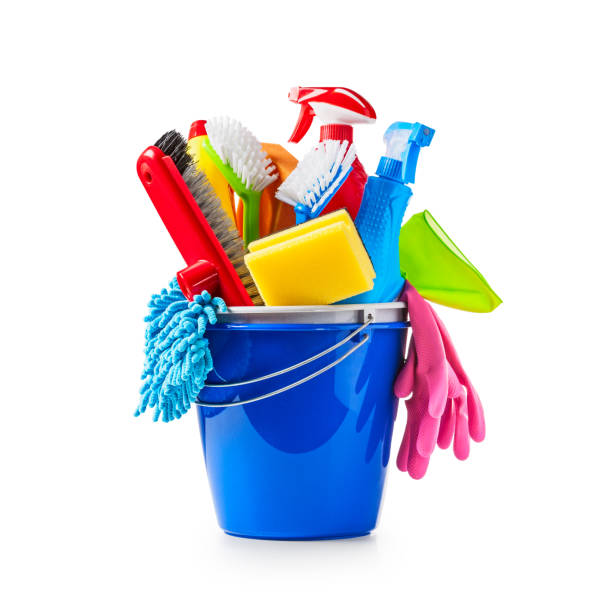 Cleaning bucket Blue bucket with cleaning supplies isolated on white background. Single object with clipping path cleaning equipment stock pictures, royalty-free photos & images
