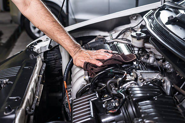 Cleaning car engine Cleaning car engine engine stock pictures, royalty-free photos & images