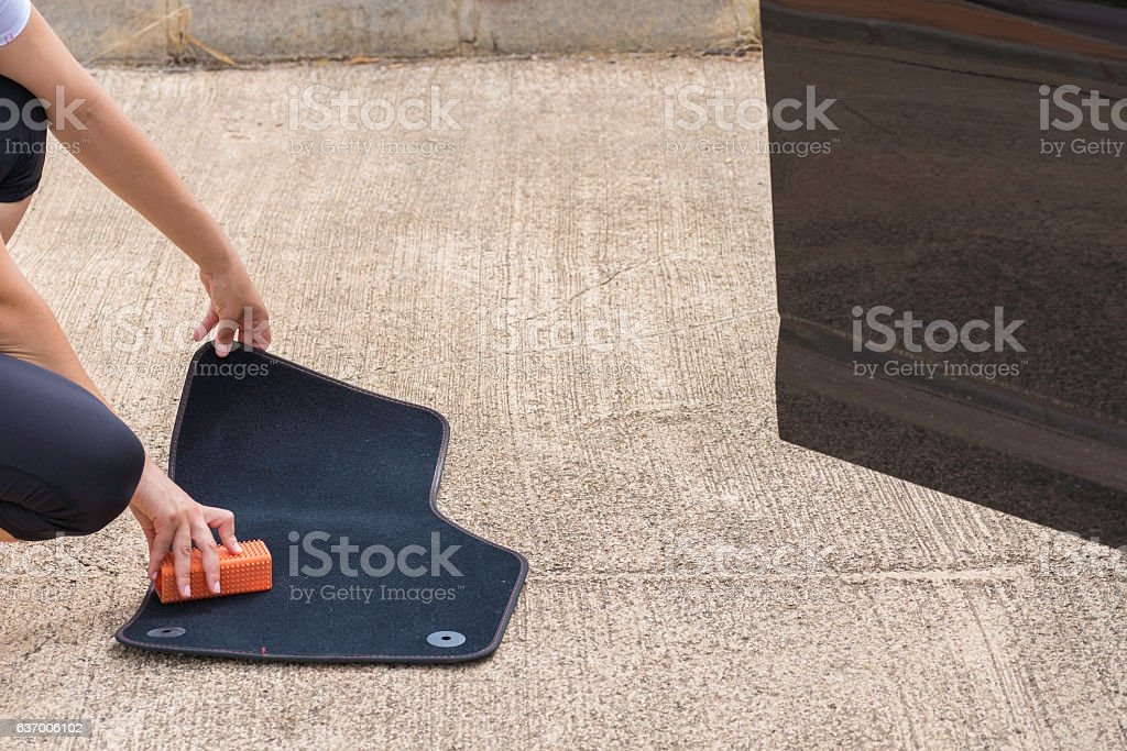 Cleaning car. stock photo