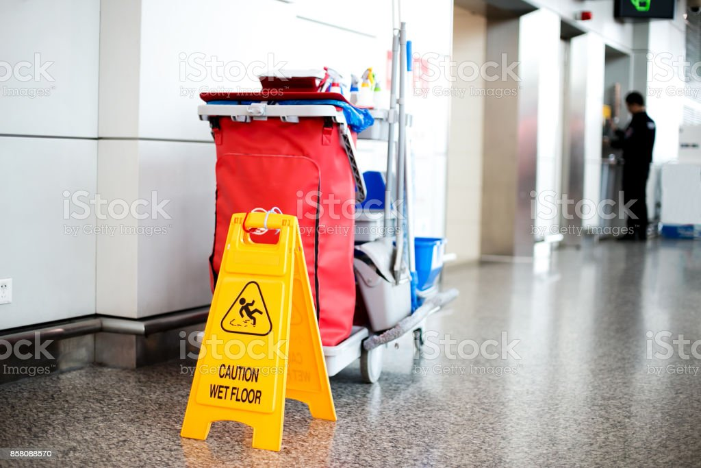 cleaning cart in modern hall stock photo