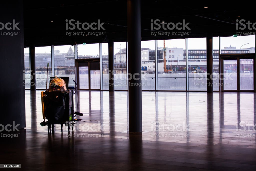 Cleaning Cart on floor stock photo