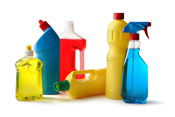 cleaning: cleaning products isolated on white background - bleach stock pictures, royalty-free photos & images