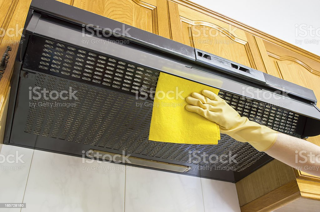 cleaning cloth hood stock photo