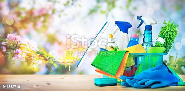 istock Cleaning concept. Housecleaning, hygiene, spring, chores, cleaning supplies 941862716