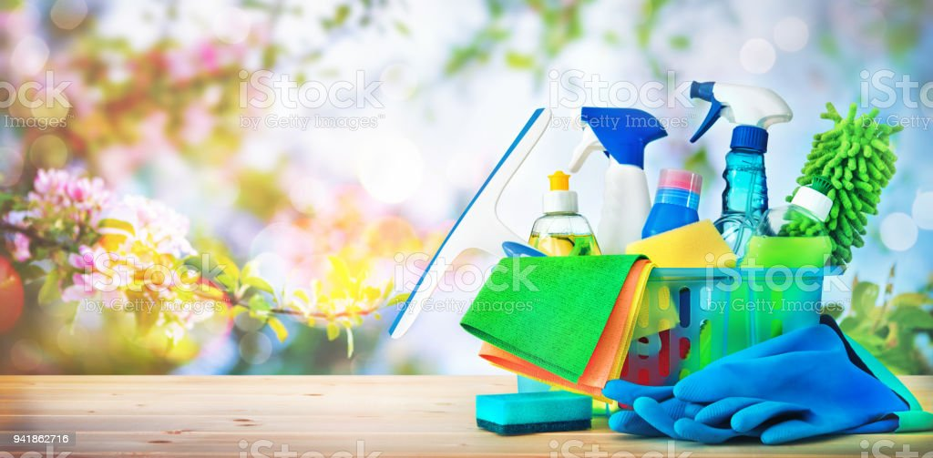 Cleaning concept. Housecleaning, hygiene, spring, chores, cleaning supplies stock photo