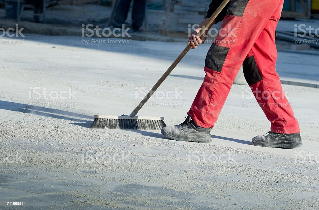 Cleaning construction site stock photo