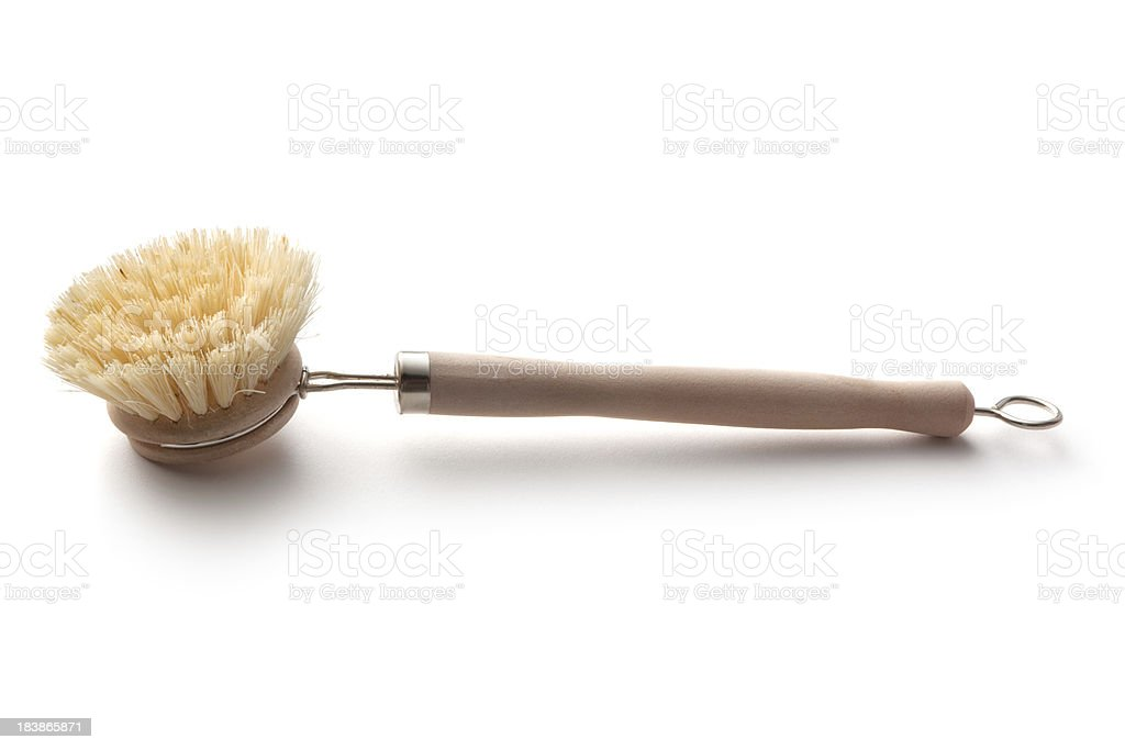 Cleaning: Dish Brush Isolated on White Background stock photo