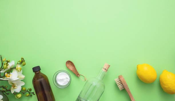 Reinigung Öko-Produkte Hintergrund, Soda, Zitrone, Essig – Foto
