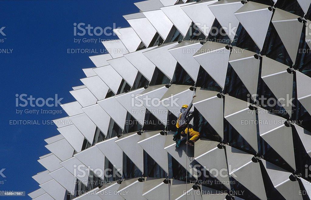 Cleaning Esplanade Theatre stock photo