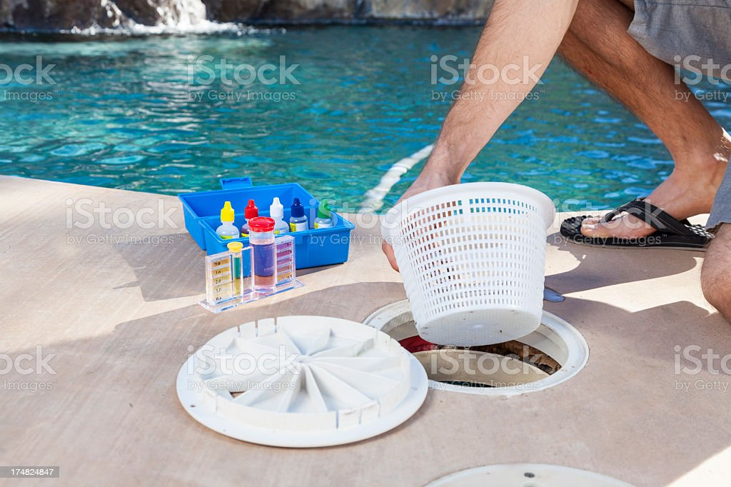 Cleaning filter basket stock photo