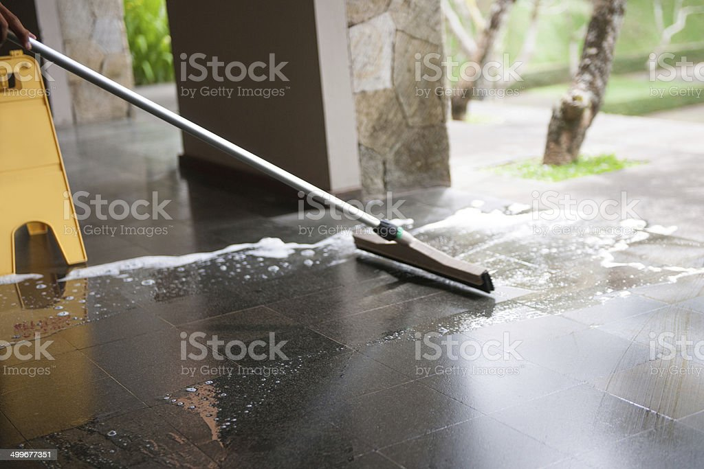 Cleaning floor stock photo