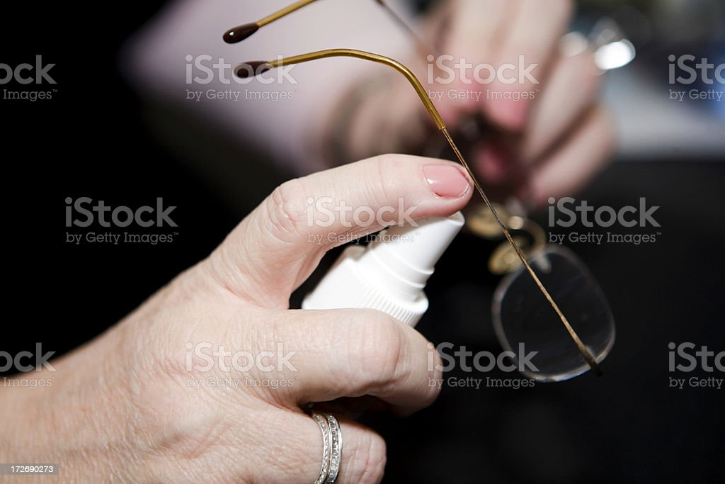 Cleaning Glasses stock photo