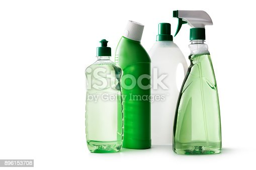Cleaning: Green Cleaning Products Isolated on White Background