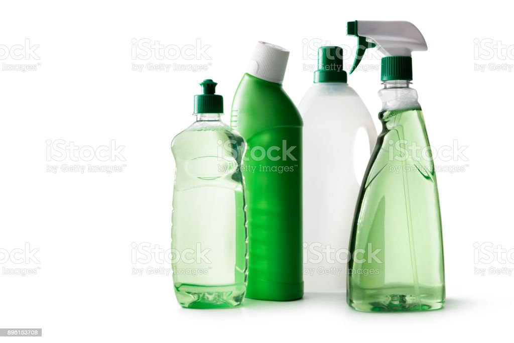 Cleaning: Green Cleaning Products Isolated on White Background stock photo
