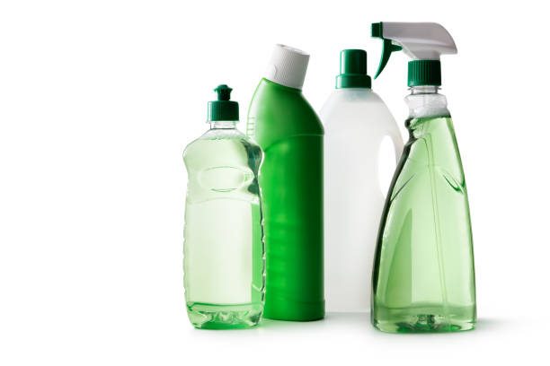 cleaning: green cleaning products isolated on white background - lysol stock pictures, royalty-free photos & images