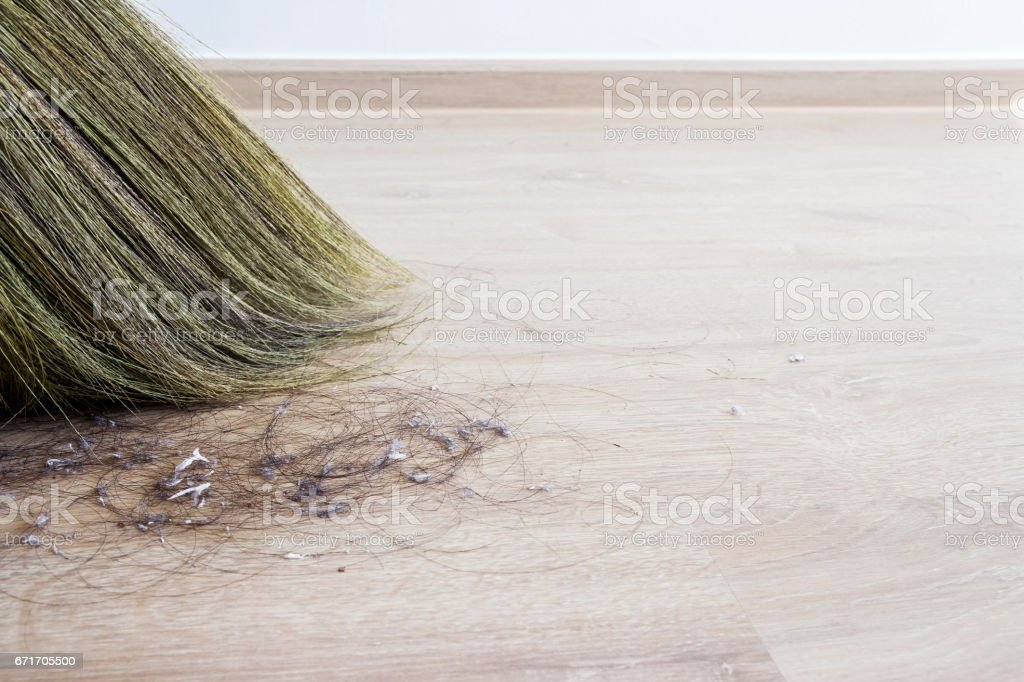 Cleaning hair and dust in the bedroom stock photo