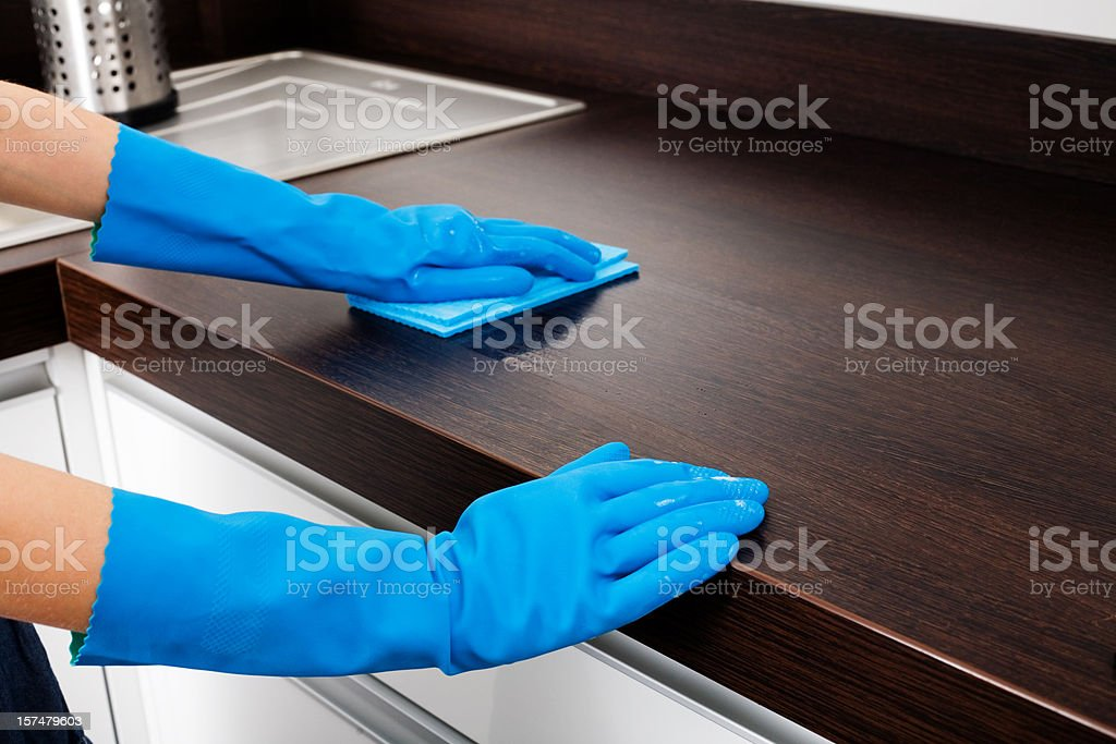 Cleaning Kitchen Counter stock photo