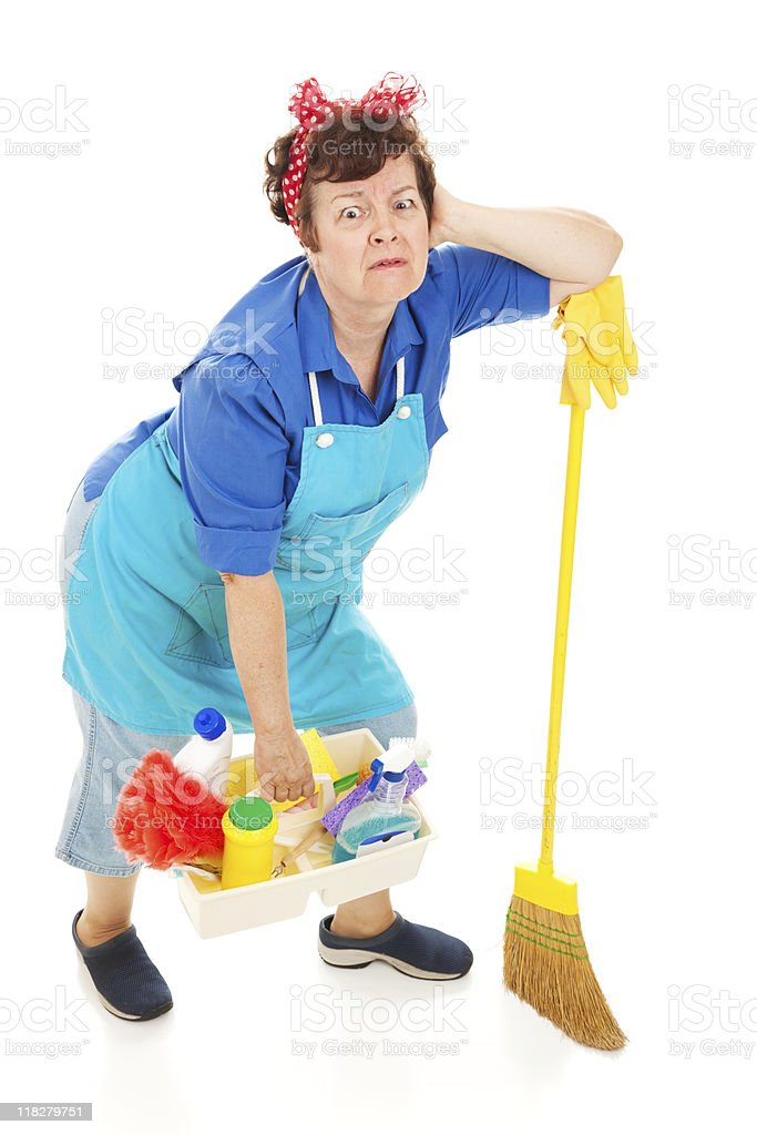 Cleaning Lady - Exhausted royalty-free stock photo