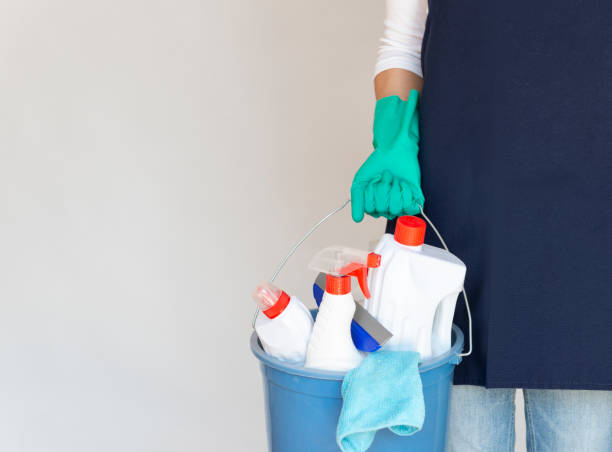 Reinigung Lady Holding Reinigungseimer – Foto