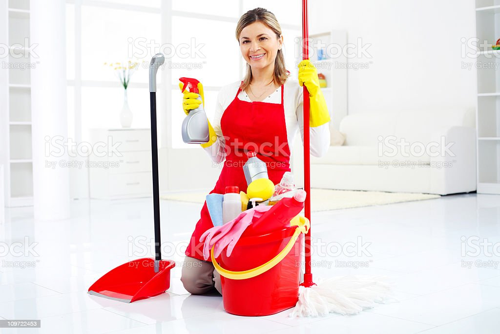 Cleaning lady on bright clean room royalty-free stock photo