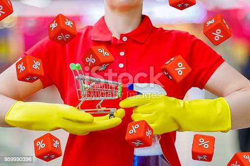 istock Cleaning lady shows the basket . 959990396