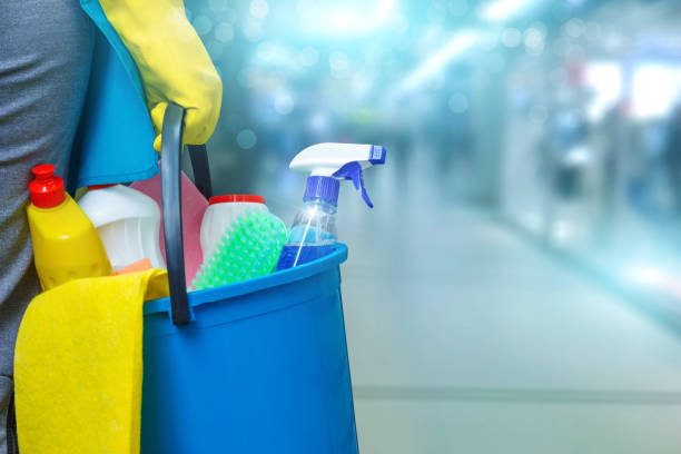 Cleaning lady with a bucket and cleaning products . Cleaning lady with a bucket and cleaning products on blurred background . cleaning equipment stock pictures, royalty-free photos & images