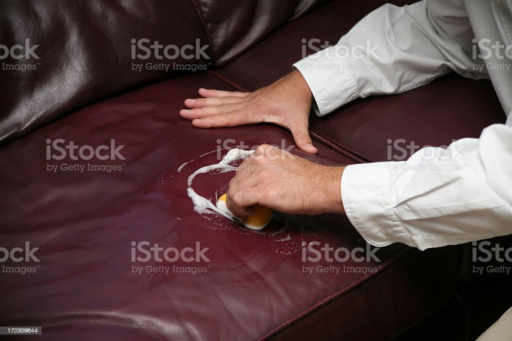 Cleaning Leather stock photo